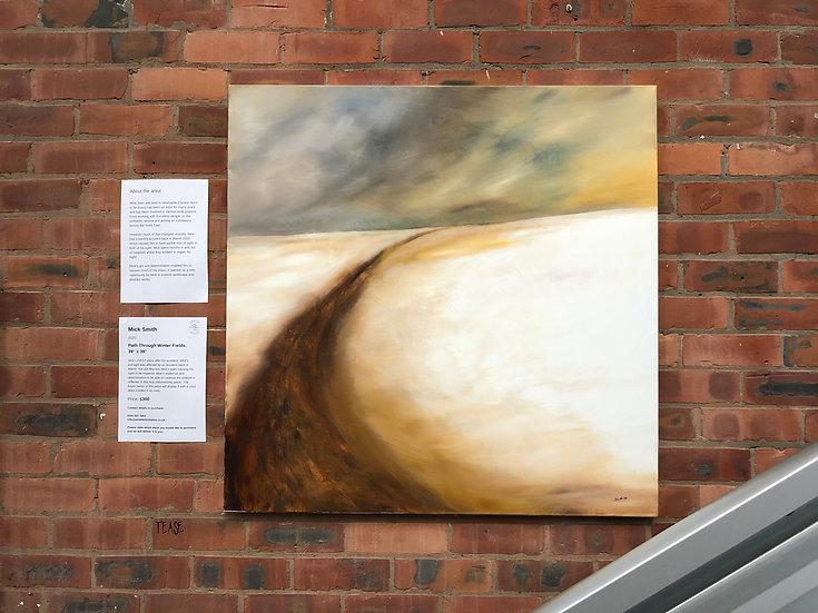 "Path through winter fields, 39""x 39"". Mick Smith"