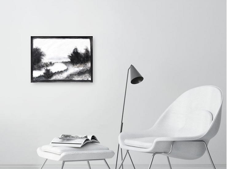 """Monochrome Landscape,16""""x 12"""""""