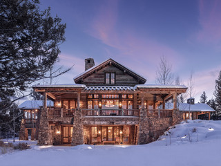 Dusk at a mountain mansion