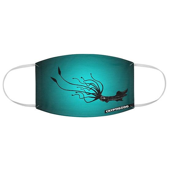 Lazy Kraken on an Aqua Fabric Face Mask