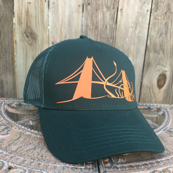 Tentacles of Terror at the Golden Gate on a Green 5 Panel Trucker Hat