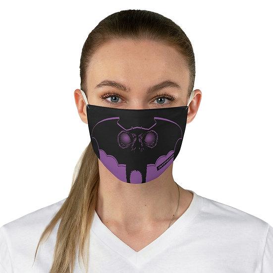 A Purple Moth Man on a Fabric Face Mask