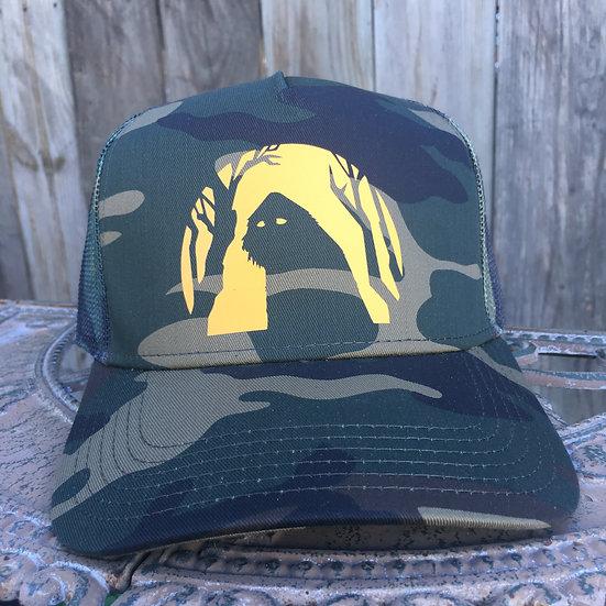 Sasquatch Moon Camouflage 5 Panel Mid Crown Mesh Back Trucker Hat