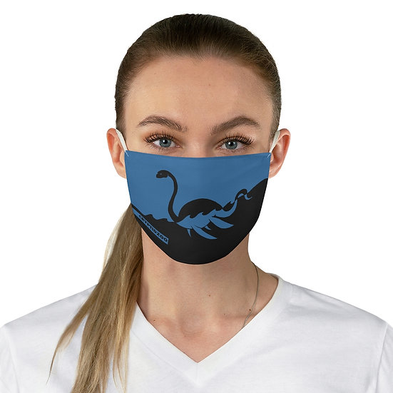 Blue Loch Ness Monster on a Fabric Face Mask