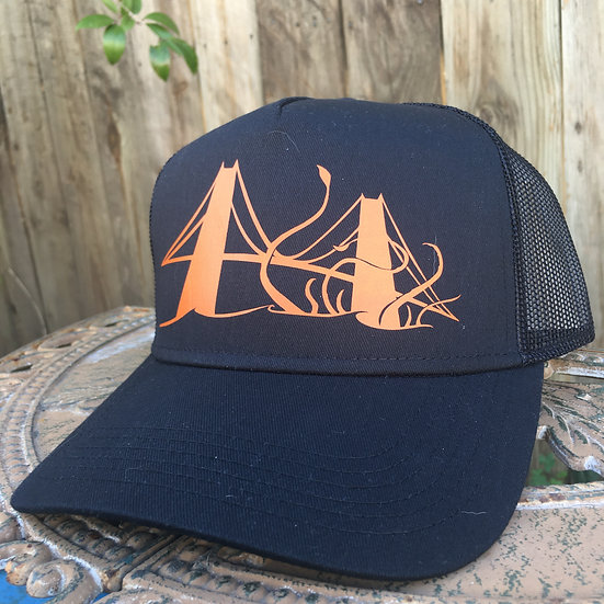 Tentacles of Terror at the Golden Gate on a Black 5 Panel Trucker Hat
