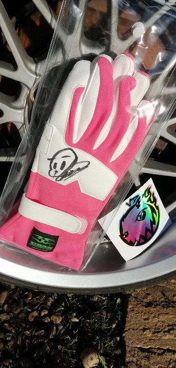 Uras pink driving gloves (signed)