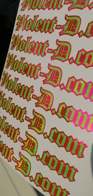 Pair of vd holographic yellow & pink chrome side window stickers