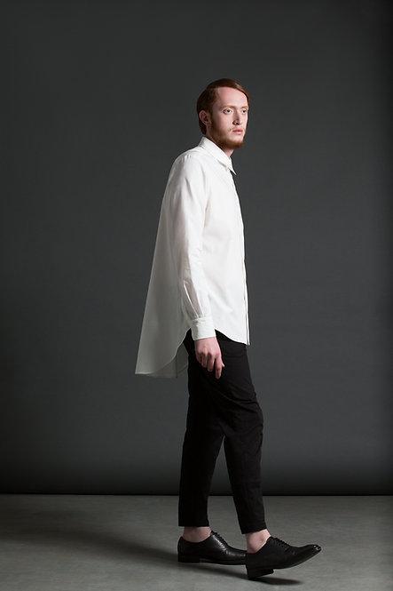 Flared Back Shirt / White