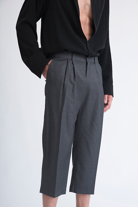 Wide Leg Cropped Trousers w. Two Pleats in Houndstooth Pattern