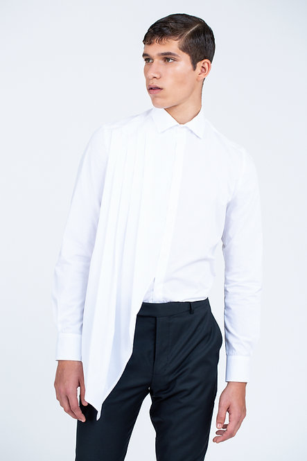 Tailored Shirt with Pleated Drape [Made To Order]