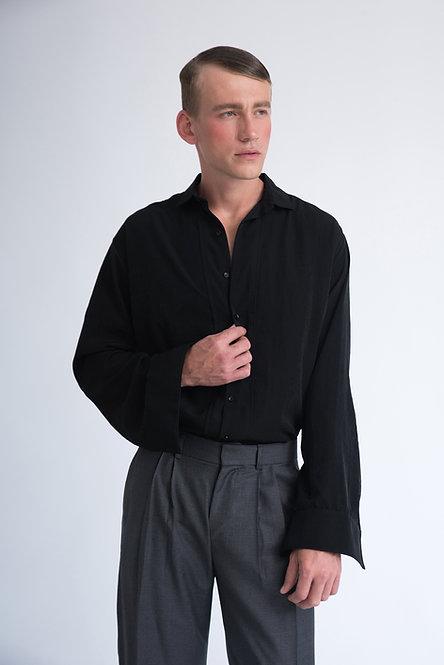 Oversized Cupro Shirt w. Deep Sleeve Placket