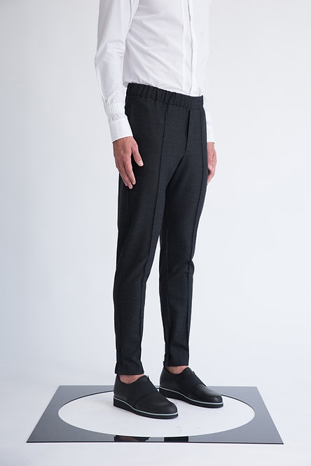 Tailored Pinstripes Trousers w. Elastic Waist and Exposed Elastic Detail