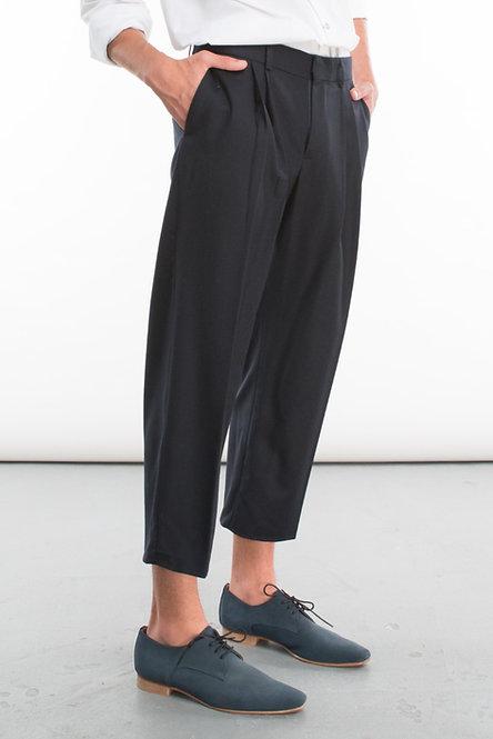Tailored Wide-Leg Cropped Pants w. Pleats