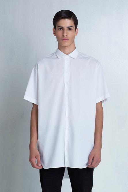 Short Sleeve Oversized Shirt / White