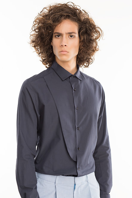 Tailored Shirt with Half a Bib Flap