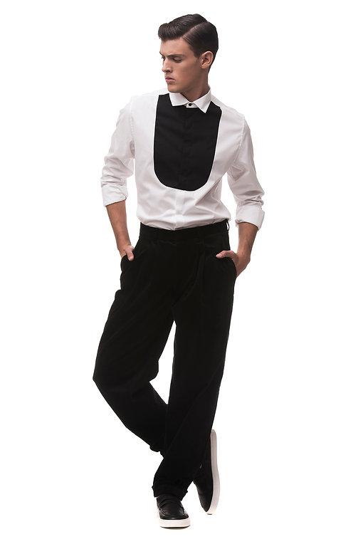 Ariel_Bassan_Minimal_Menswear_Contrasting_Bib_Shirt_Wide_Pants