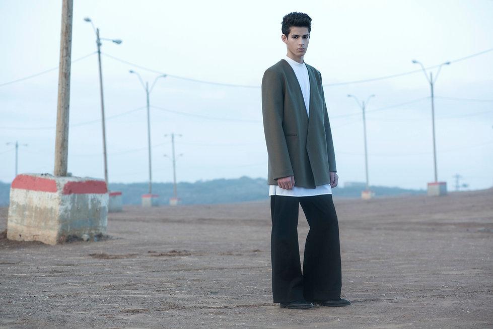 Ariel_Bassan_AW_Campaign_Minimal_Menswear_Lapelless_Wool_Coat_Wide_Leg_Pants