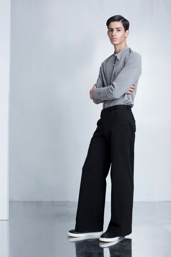 Ariel_Bassan_Minimal_Menswear_AW_LookBook_Mandarin_Shirt_Wide_Trousers