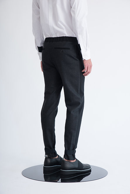 Two Tone Tailored Trousers w. Elastic Waist and Exposed Elastic Detail
