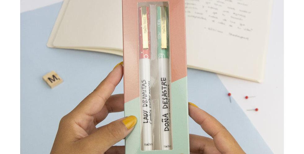 """Pack 2 bolígrafos """"Desastre y dramitas"""""""