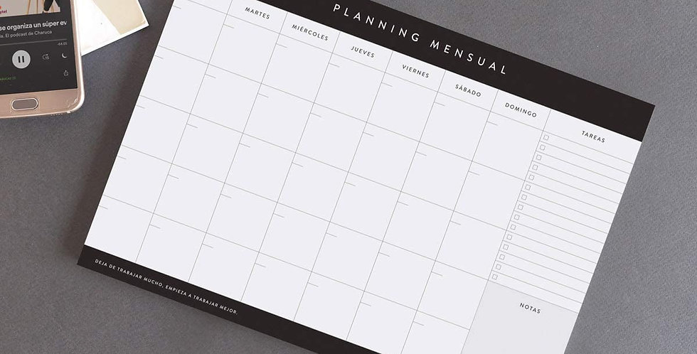 """Planificador mensual """"Blanco y negro"""""""
