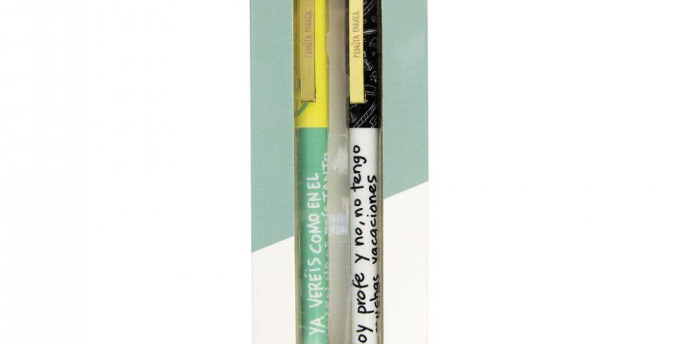 "Pack 2 bolígrafos ""Profes""- Caja azul"
