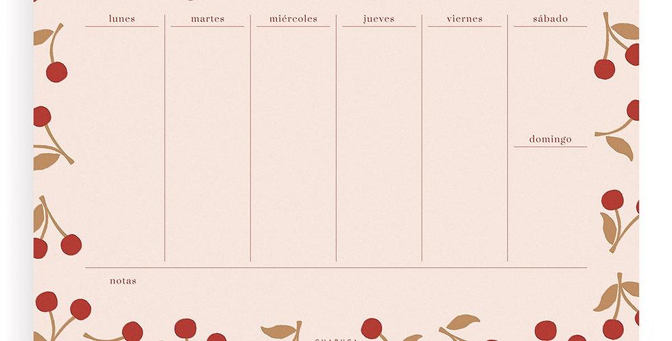 """Planificador semanal """"Cerezas"""""""