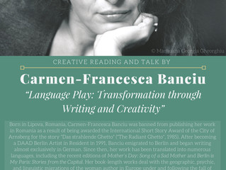 Creative reading and talk by Carmen-Francesca Banciu
