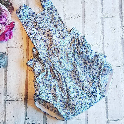 Blue and purple ditsy romper