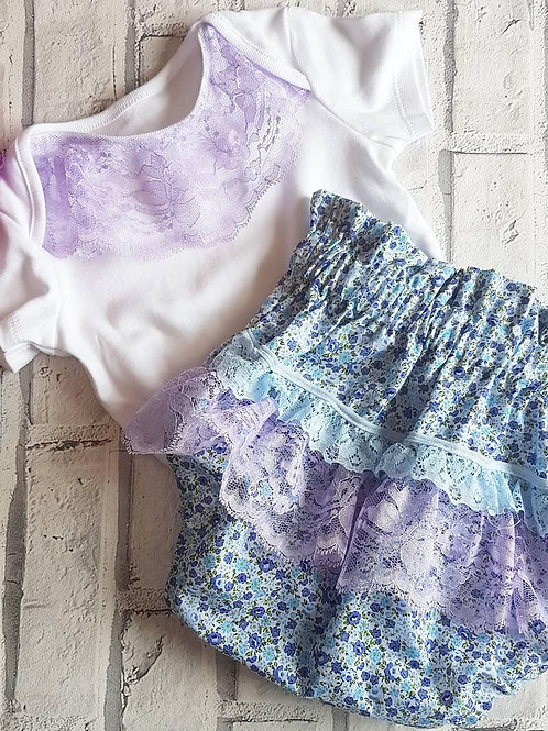 Purple lace bloomers and vest set
