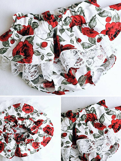 red rose peplum lace bloomers
