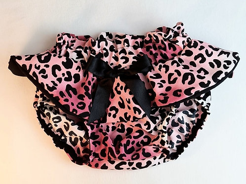 PINK LEOPARD PEPLUM BLOOMERS WITH BOW