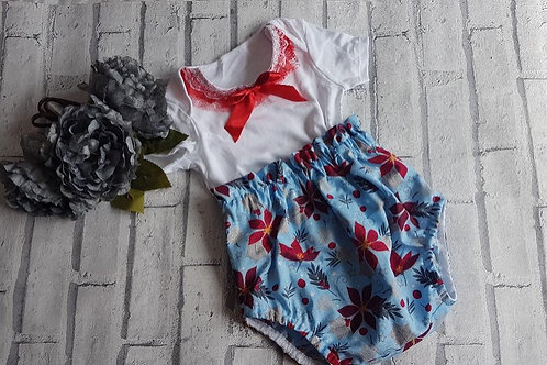Blue  poinetta bloomers and lace vest top set