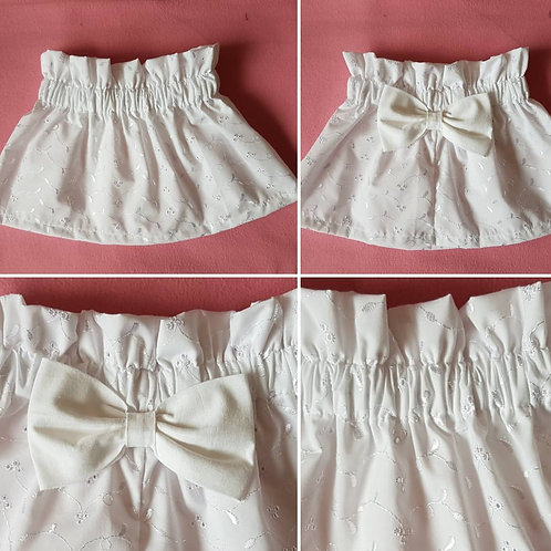 White broiderie Skirt with large white 100% cotton bow on the back