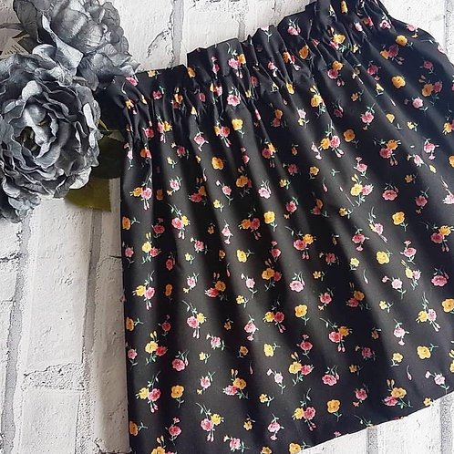 Black Ditsy Floral Skirt