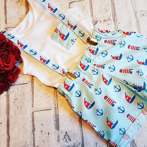 Sailor print boys braced shorts, pocket vest top set