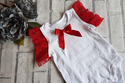 Red Lace arms vest top