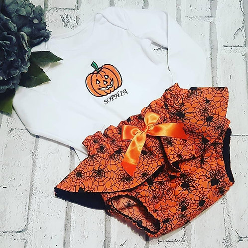 Orange Spider Peplum Bloomers set with bow and embroidered vest top