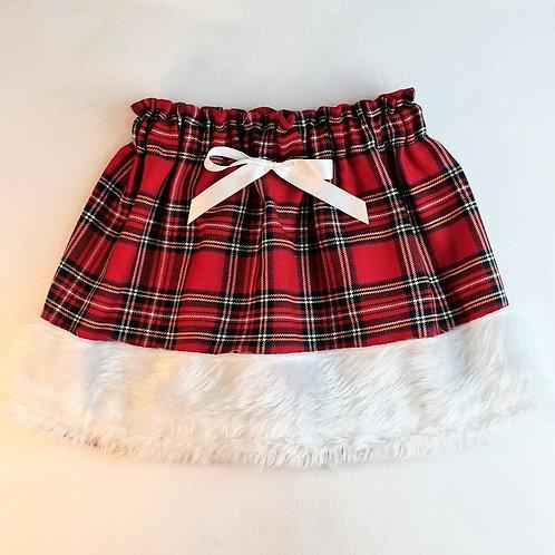 white trim fur tartan skirt with bow