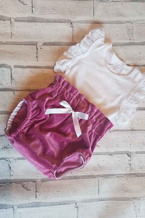 Dusky Pink Bloomers and Vest Set