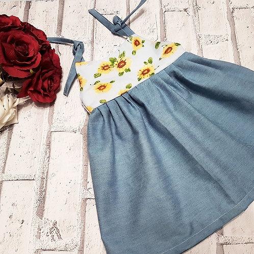 Sunflower and denim dress