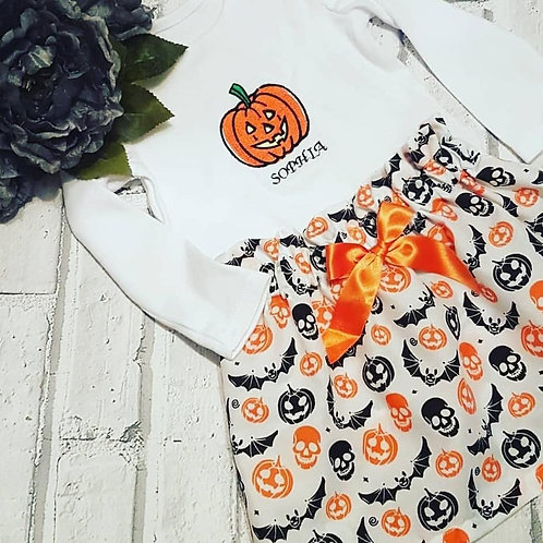 Pumpkin skirt set with bow and embroidered vest top