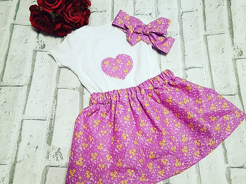 Heart sewn vest top, skirt and head-wrap set