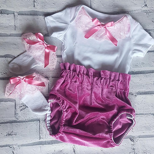 Dusky Pink Velvet Bloomers, Vest and socks set