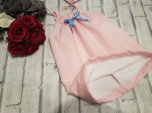 pink pin stripe fully lined dress