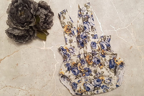 Blue and cream floral braced bloomers
