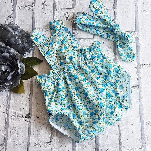Blue Disty Floral Head wrap and Romper