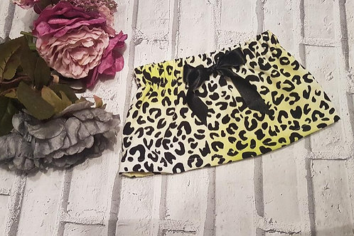 Leopard Print Skirt fully lined in yellow