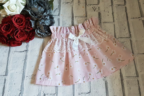 Pink Daisy skirt with lace and bow