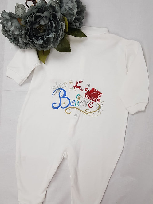 White Personalised Christmas baby grow